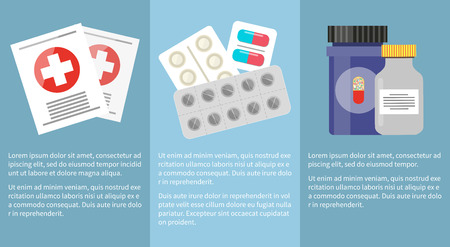 Medicine Icons Collection with Information Below