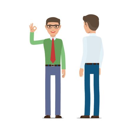 Businessmen Showing Ok Gesture Flat Vector
