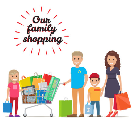 Our Family Shopping Flat Vector Concept