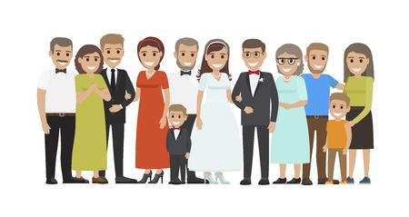 Wedding Guests Group Portrait Flat Vector Concept Illustration