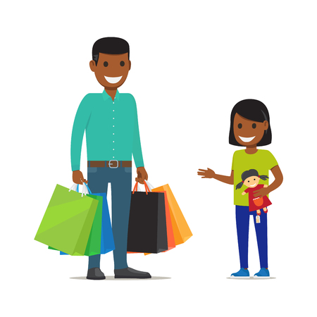 stuff toys: Family on Shopping. Father and Daughter Characters