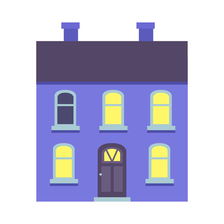 Isolated Xmas Blue Building with Two Chimneys Illustration