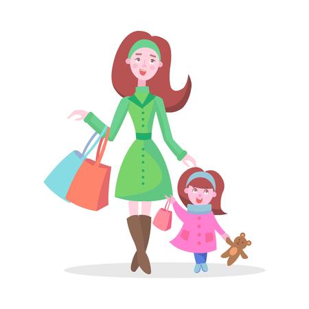 Family Shopping Cartoon Flat Vector Concept