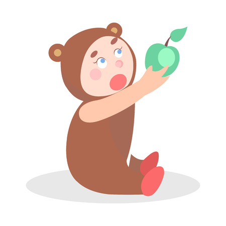 Little Child in Bear Suit with Apple Cartoon Icon Vectores