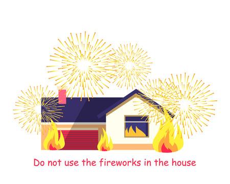 Burning Gebäude mit Feuerwerk isoliert auf weiß Standard-Bild - 74121857