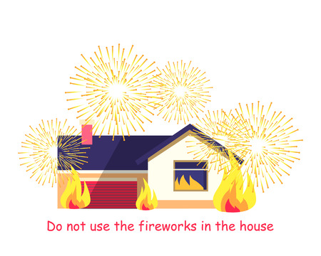 Burning Building with Fireworks Isolated on White