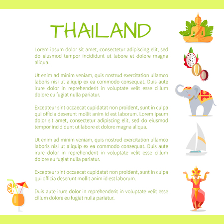 Thailand Touristic Vector Concept with Sample Text