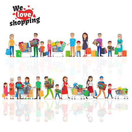 We Love Shopping Concept with Two Lines of People Illustration