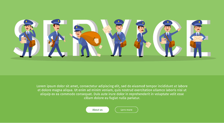 Parcel Conceptual Web Banner with Cartoon Postman Illustration