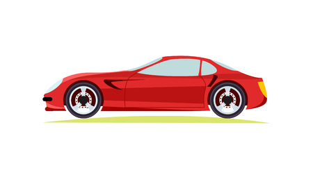 Red Modern Fast Sports Car on White Background.
