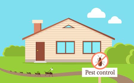Ongediertebestrijding Concept met kakkerlak verlaat huis