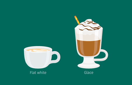 glace: Glace and Flat White Coffee Drinks Illustration