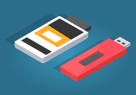 pocket pc: Icons of Red USB and White Memory Card Reader