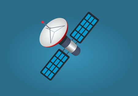 space antenna: Cartoon Artificial Satellite Isolated illustration