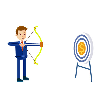 Businessman Hits Target With Bow Illustration Illustration