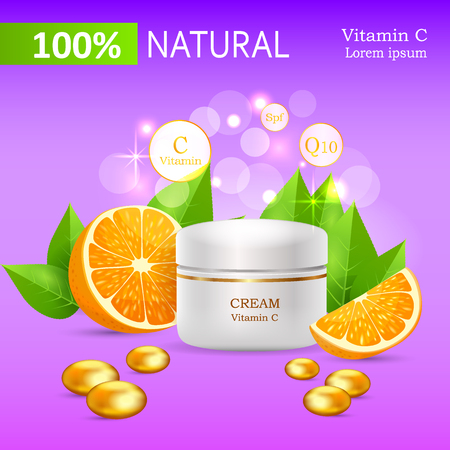 replenishing: Natural Cream with Vitamin C in Glossy Tube Vector Illustration