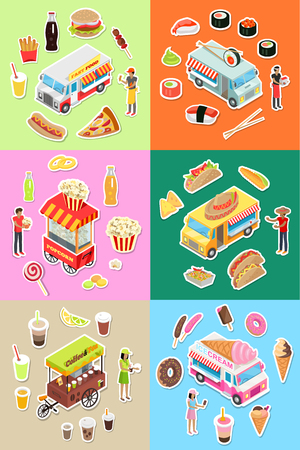 eatery: Set of Street Fast Food Eatery on Wheels Vectors