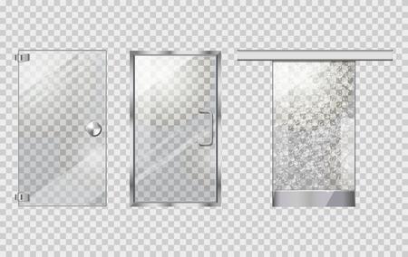 투명한 배경에 유리 도어 콜렉션
