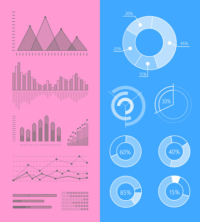 Set of Vector Graphs and Diagrams for Infographics Illustration