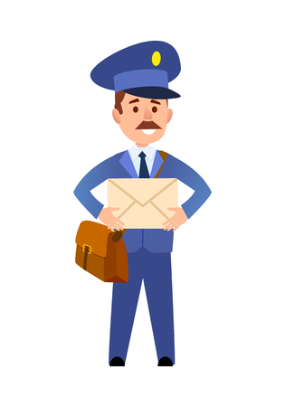Postman Delivering Letter Isolated Cartoon Vector Illustration
