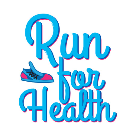Run for Health. Motto Credo with Sport Sneakers