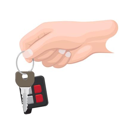 Car Key in Human Hand Flat Vector Illustration