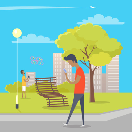 Boy Uses his Smartphone During Walk in City Park Illustration
