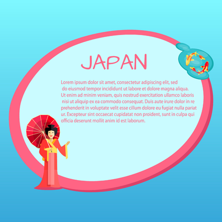 Japan Vector Touristic Banner with Sample Text Illustration