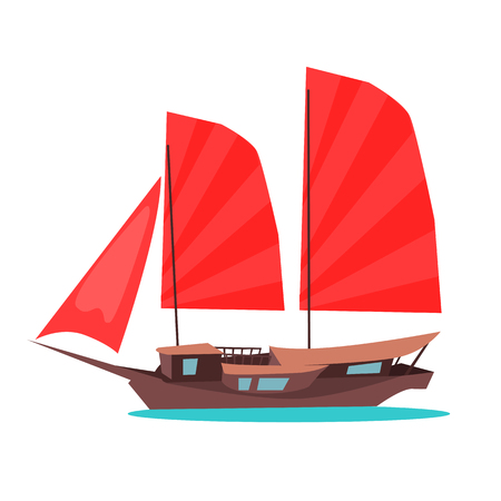 Traditional wooden junk ship flat vector icon