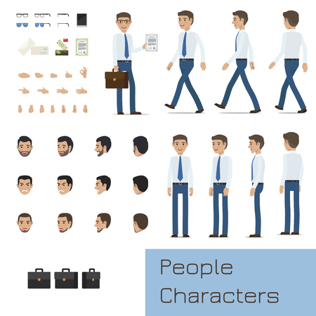 Businessman Character Generator Flat Vector Illustration
