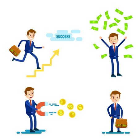successful businessman: Successful Businessman Character. Illustration Set Illustration