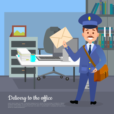Delivery to the Office Web Banner. World Transfer Illustration