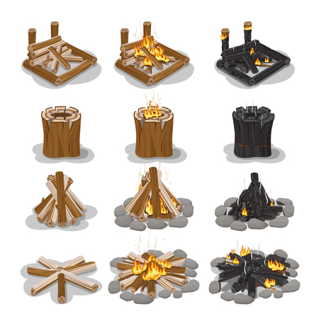 Tourist Campfire Collection with Flame on White