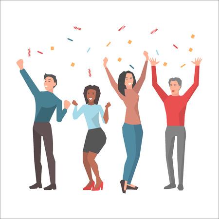 Team celebrates successful startup illustration Illustration
