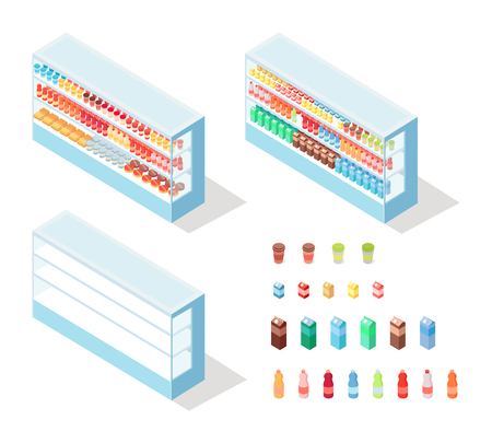 Milky Food in Groceries Showcase Isometric Vector Illustration