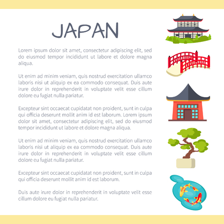 koi: Japan Touristic Vector Concept with Sample Text