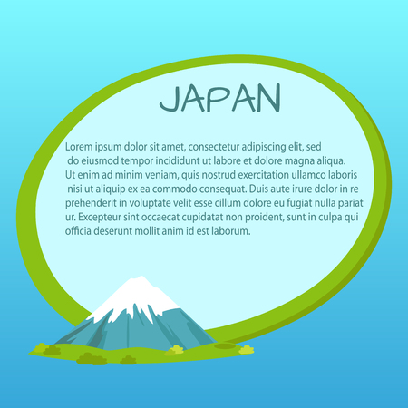 Japan Label with Text inside near Fuji Mountain Illustration