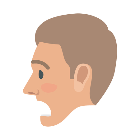 Surprised Man Face Flat Vector Icon Illustration