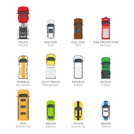 Modern Vehicle Transport Top View Vector Icons Set Illustration