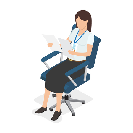 proceeding: Woman Sitting in Chair and Looking on Two Paper
