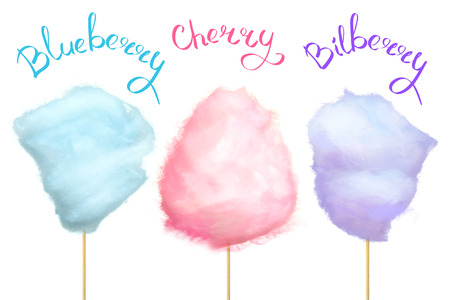 Berry-Flavored Cotton Candy on Stick Illustration