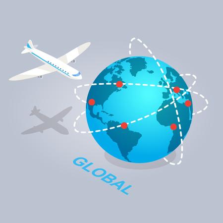 e commerce: Global Spread of E Commerce Isolated Illustration