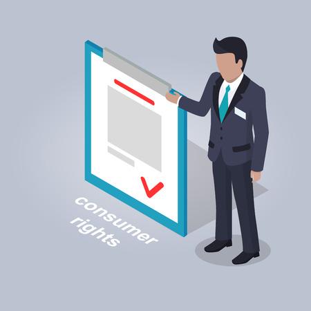 Consumer Rights and Businessman Illustration. Ilustração