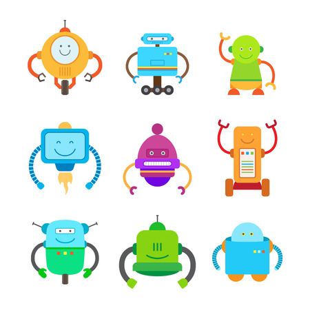 space antenna: Funny Colorful Robots Collection of Illustrations Illustration