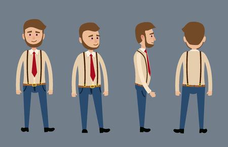 Caractère masculin de bande dessinée avec une illustration de barbe Banque d'images - 74486552