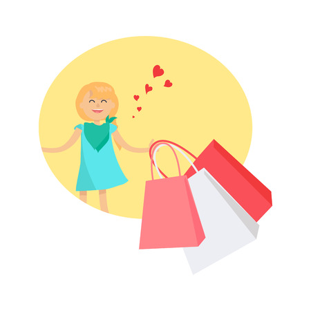 Happy Young Girl with Bags Isolated Illustration Illustration