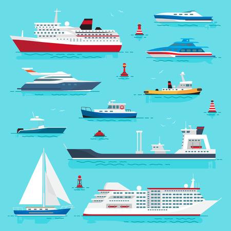 Set di trasporto marittimo su Blue Water Design piatto