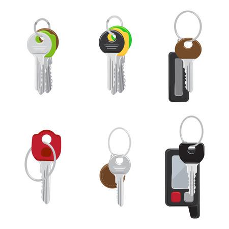 Set of Modern Door and Car Keys Flat Vectors