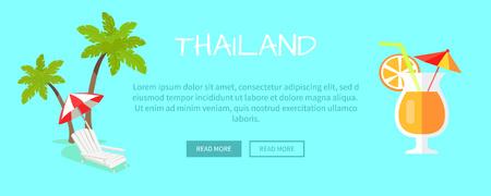 to sunbathe: Thailand Touristic Flat Style Vector Web Banner