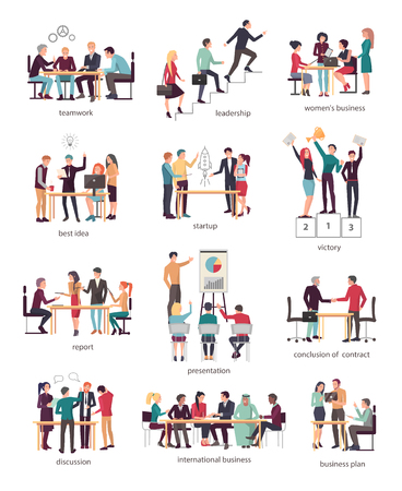 Development Stages of Business Team in Company Illustration